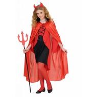 Halloweenaccessoires kindercape rood met zwarte kraag