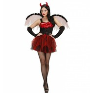 Halloweenkleding sexy duivel met vleugels