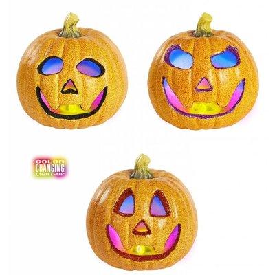 Halloweenaccessoires glitter pompoen 17cm