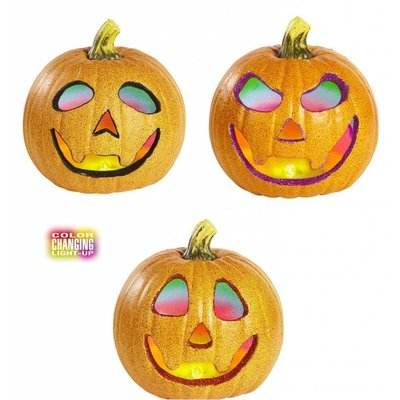 Halloweenaccessoires glitter pompoen 20cm