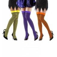 Halloweenaccessoires kniekousen neon gestreept