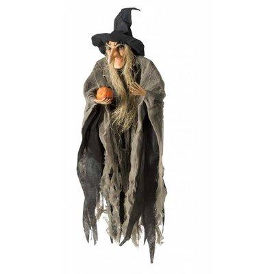Hangdecoratie vliegende Heks als Halloween decoratie