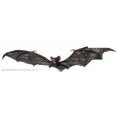 Halloweenaccessoires harige zwarte vleermuis 74cm