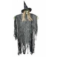 Halloweenaccessoires: Hangdeco heks 170 cm