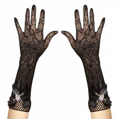 Halloweenaccessoires handschoenen spinneweb met strass schedel