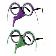 Halloweenaccessoires bril met heksenneus en veren wenkbrouwen