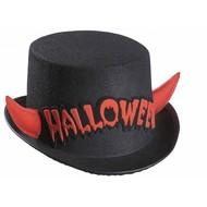 Halloweenaccessoires hoge hoed halloween met rood spiegelende hoorntjes
