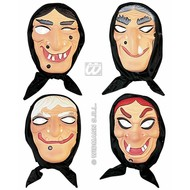 Halloweenaccessoires plastic maskerheks met doek