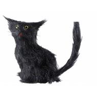 Halloweenaccessoires zwarte kat 12cm