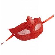 Halloweenaccessoires rood oogmasker met pailletten en tule