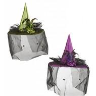 Halloweenaccessoires heksenhoed met tule bloemen