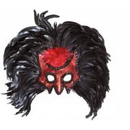 Halloweenaccessoires oogmaskerduivel met jumbo veren