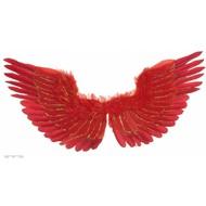 Halloweenaccessoires vleugels rood met zilver glitter 86x42cm