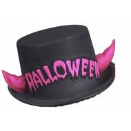 Halloweenaccessoires hoge hoed halloween met roze hoorntjes