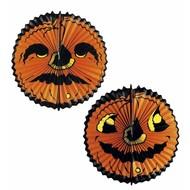 Halloweenaccessoires pompoen lampionsdubbel gezicht 40cm doorsnee