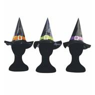 Halloweenaccessoires heksenhoed kind met riem en sluiting