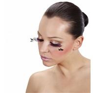 Halloweenaccessoires oogwimpers met 3 veren aan de zijkant