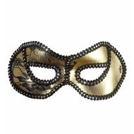 Halloweenaccessoires oogmasker zwart/goud met kant op ogen