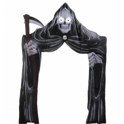 Halloweenartikelen deurdecoratie grimreaper met lichtg. ogen 208x147cm