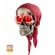 Halloweenaccessoires: Schedel met licht 40 cm