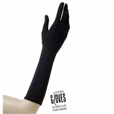 Halloweenaccessoires handschoenen lycra 37cm zwart