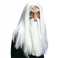 Halloweenaccessoires masker tovenaar met baard en snor