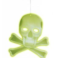 Halloweenaccessoires schedel decoratie met 2 botten lichtgevend in donker