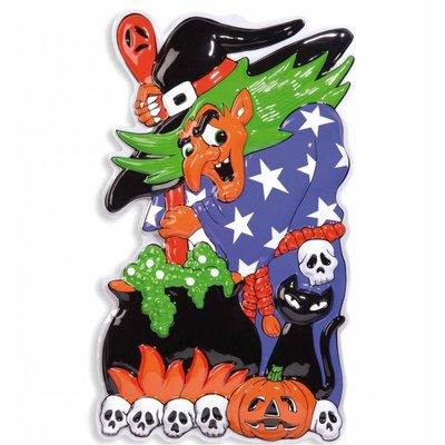 Halloweenaccessoires 3d decoratie heks 51x91 cm