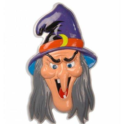 Halloweenaccessoires 3d decoratie heks met hoed 91x51cm