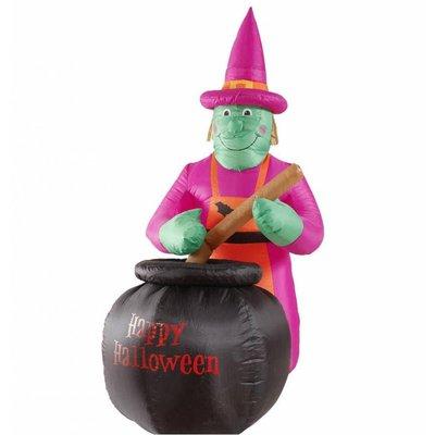 Halloweenartikelen opblaasbare heks met ketel 183cm gebruik binnen/buiten