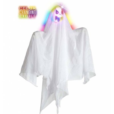 Halloweenartikelen geest met meerkleurig licht 50cm