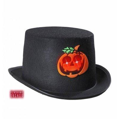 Halloweenaccessoires hoge hoed pompoen met flikkerend licht