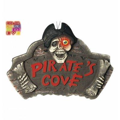 Halloweenartikelen gevelplaat piratenbaai met licht