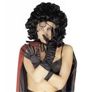 Halloweenaccessoires handschoenen satijn zwart geplooid
