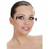 Halloweenaccessoires oogwimpers zwart met 3 veren aan de zijkant