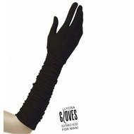 Halloweenaccessoires handschoenen plisse lycra zwart