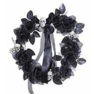 Halloweenaccessoires krans met zwarte rozenschedelsverlichting 45cm