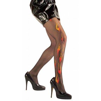 Duivels jurkjes panty zwarte met rode vlammen