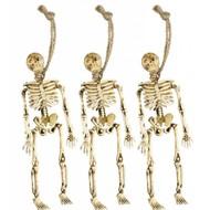Halloweenaccessoires: 3 Skeletten opgehangen 15 cm