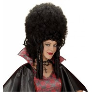 Halloweenpruik madame Bovary zwart
