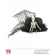 Halloweenartikel mini hoge hoed skelet