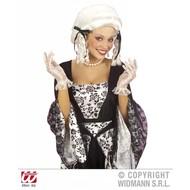 Halloweenaccessoires kanten handschoenen wit 25 cm