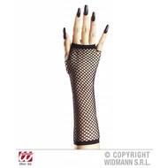 Halloweenaccessoires vingerloze nethandschoenen zwart