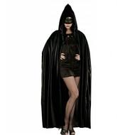 Lange zwarte cape met kap