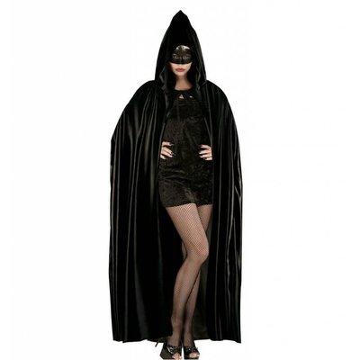 Lange zwarte cape met kap voor halloween