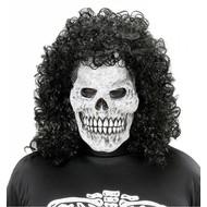 Halloweenmasker: Schedel maskers met krulpruik