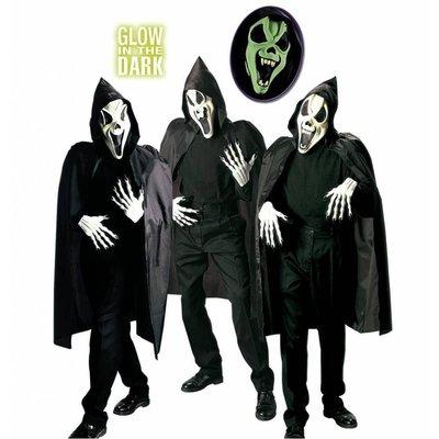 Geesten masker met cape en kraag voor Halloween