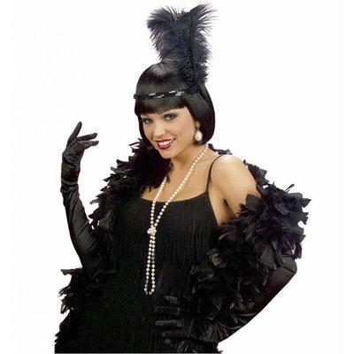 Halloweenaccessoires handschoenen zwart katoen 60cm