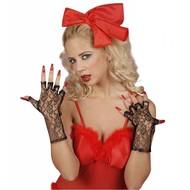 Halloweenaccessoires witte vingerloze handschoenen 25cm
