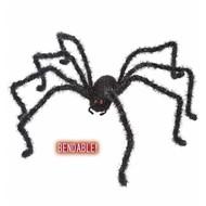Halloweenaccessoires buigbare zwarte spin 124cm